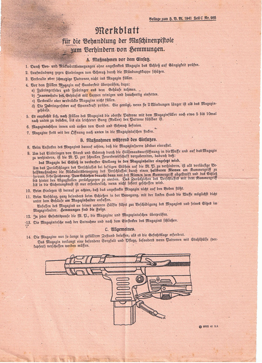 instruction sheet showing how to keep gun running and use of safety strap.