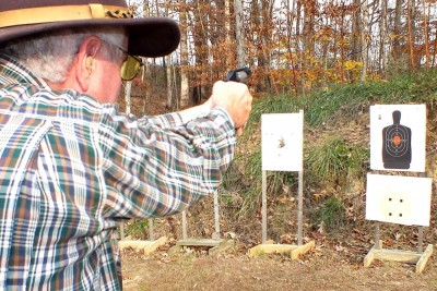 The author shooting the answer to his question: a compact, easily concealed .357 Smith & Wesson.