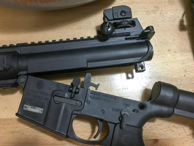 The upper and lower receivers join just like on a standard AR-15 via two push pins.