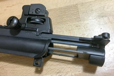Once the upper receiver is opened, the bolt assembly and charging handle pull out easily.