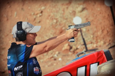 Kay Miculek, shooting a Limited pistol.