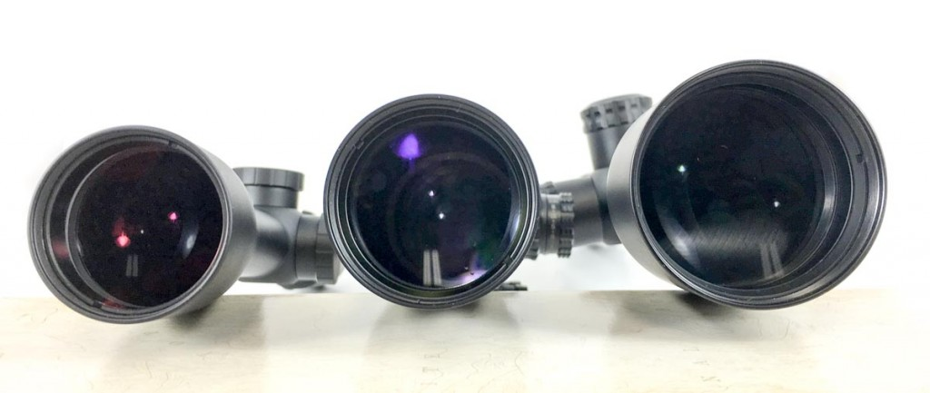 Different objective lens sizes should be compatible with magnification of the scope. Left to right: Burris Fullfield II 3-9x40mm, Burris XTR 2-10x42mm, and Burris Veracity 4-20x50mm.
