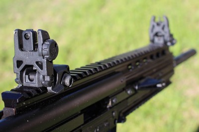 Magpul MBUS Irons and a very AR-15 like sight radius.
