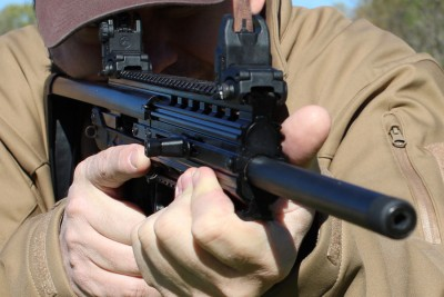 Large frame shooters will have to get accustomed to the limited real estate on the gun.