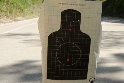 The top group fired from the Chiappa rifle bottom group fired from a handgun.