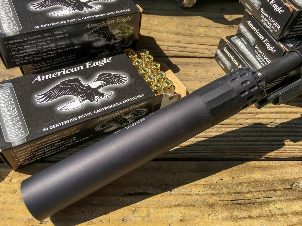 American Eagle's new 9mm Suppressor 124-grain load made a great pairing. No muzzle blast and plenty quiet.