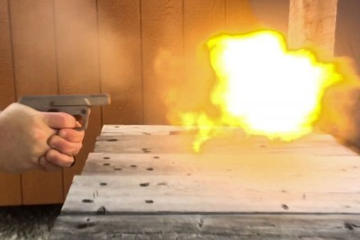 Flame coming from barrel firing 223 Lehigh defense.