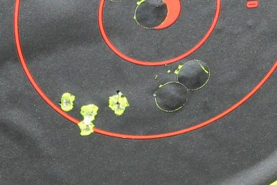 Five shots from the bench at 50 yards.