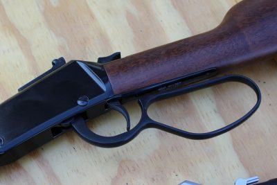 The Henry Small Game Carbine has an oversized lever loop--great for gloved hands, though the trigger guard is normally sized.
