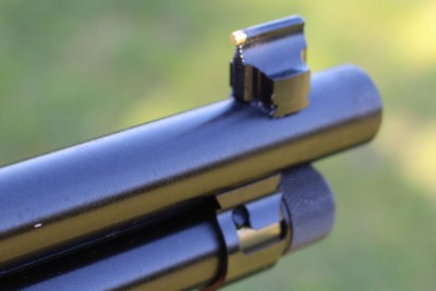 The new front sight. Taller, and with a nice brass bead.