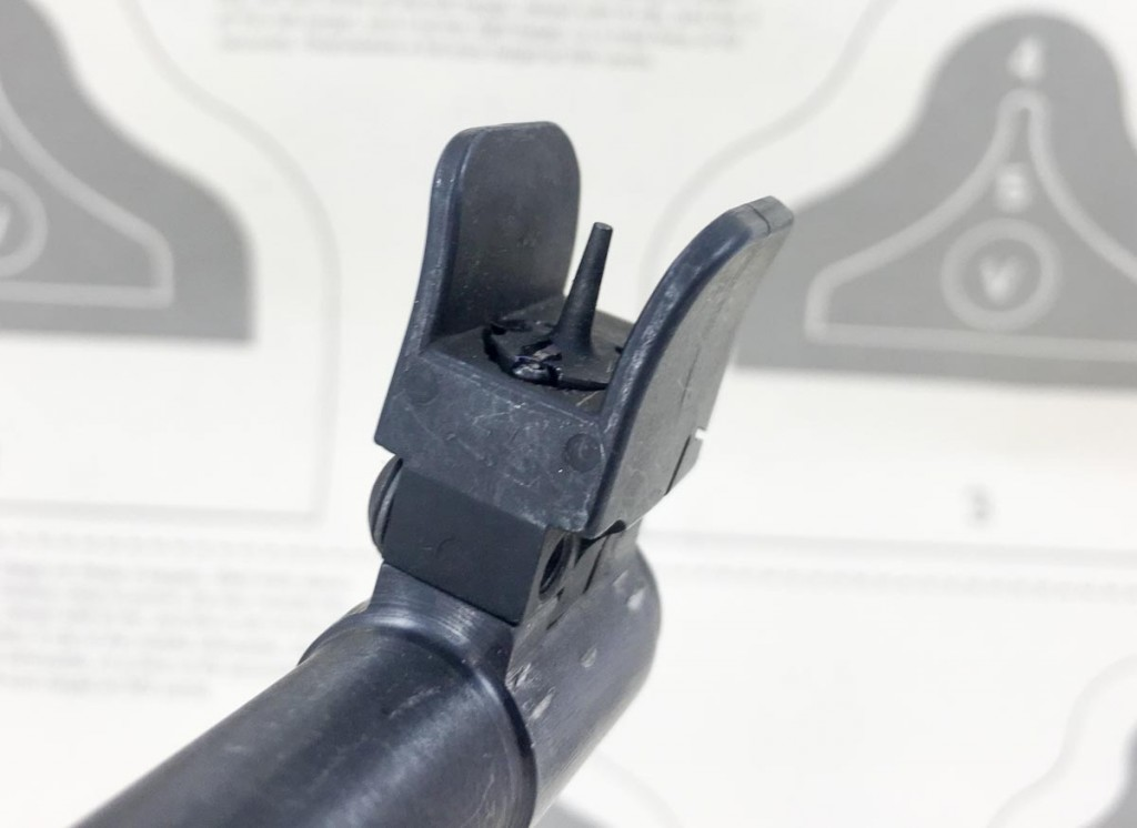 A protected iron post front sight like this one on my Ruger 10/22 is plenty durable and reasonably fast.