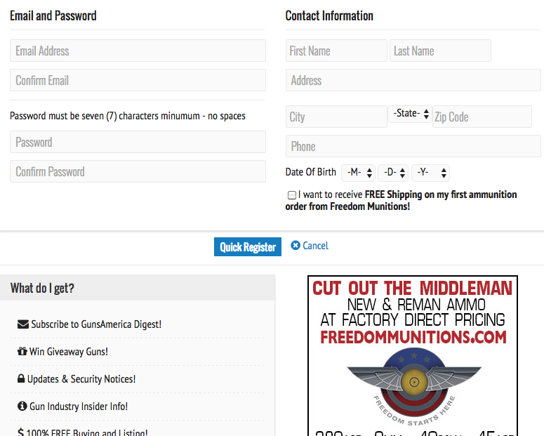 """Here's a screenshot of what the account setup looks like. It's pretty straightforward. You can go to the GunsAmerica.com homepage and just click on """"Register"""" or """"Quick Register"""" to get setup."""