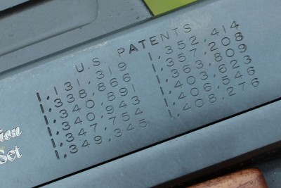 The stamped list of U.S. patents.