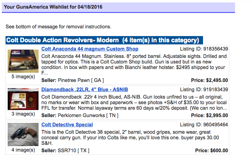 """Here is part of my wishlist. I get this sent to me daily via emali. It lets me know what new colts have come up for sale. Once you set up your account, you can set up your wishlist very easily by clicking on the """"Wishlist"""" button in the buyer's menu."""