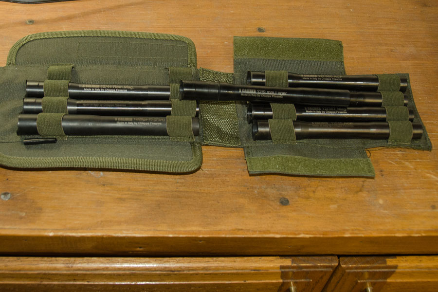 The rifle comes with eight barrel inserts that, all together, weigh 4.5 pounds.
