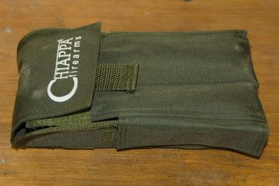 The included case folds compactly with Velcro and snaps.