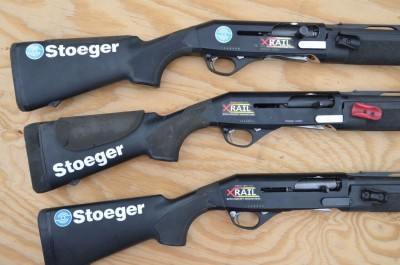 Three identical model shotguns, set up for three different shooters. notice the different stippling patters on the stocks, as well as the foam cheek pads, or lack thereof.