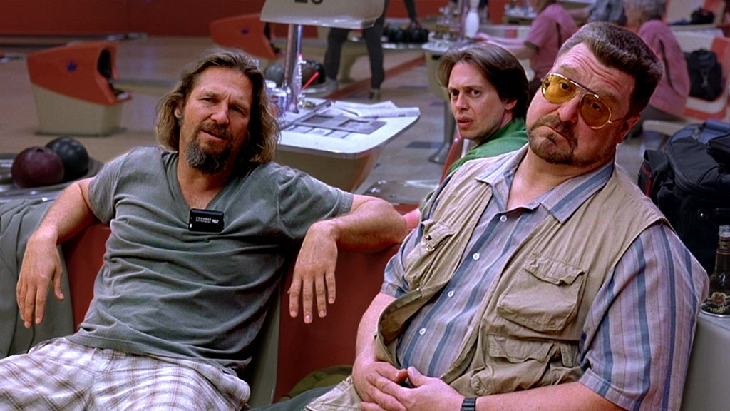 Walter Sobchak, right, in his Shoot-Me-First vest.