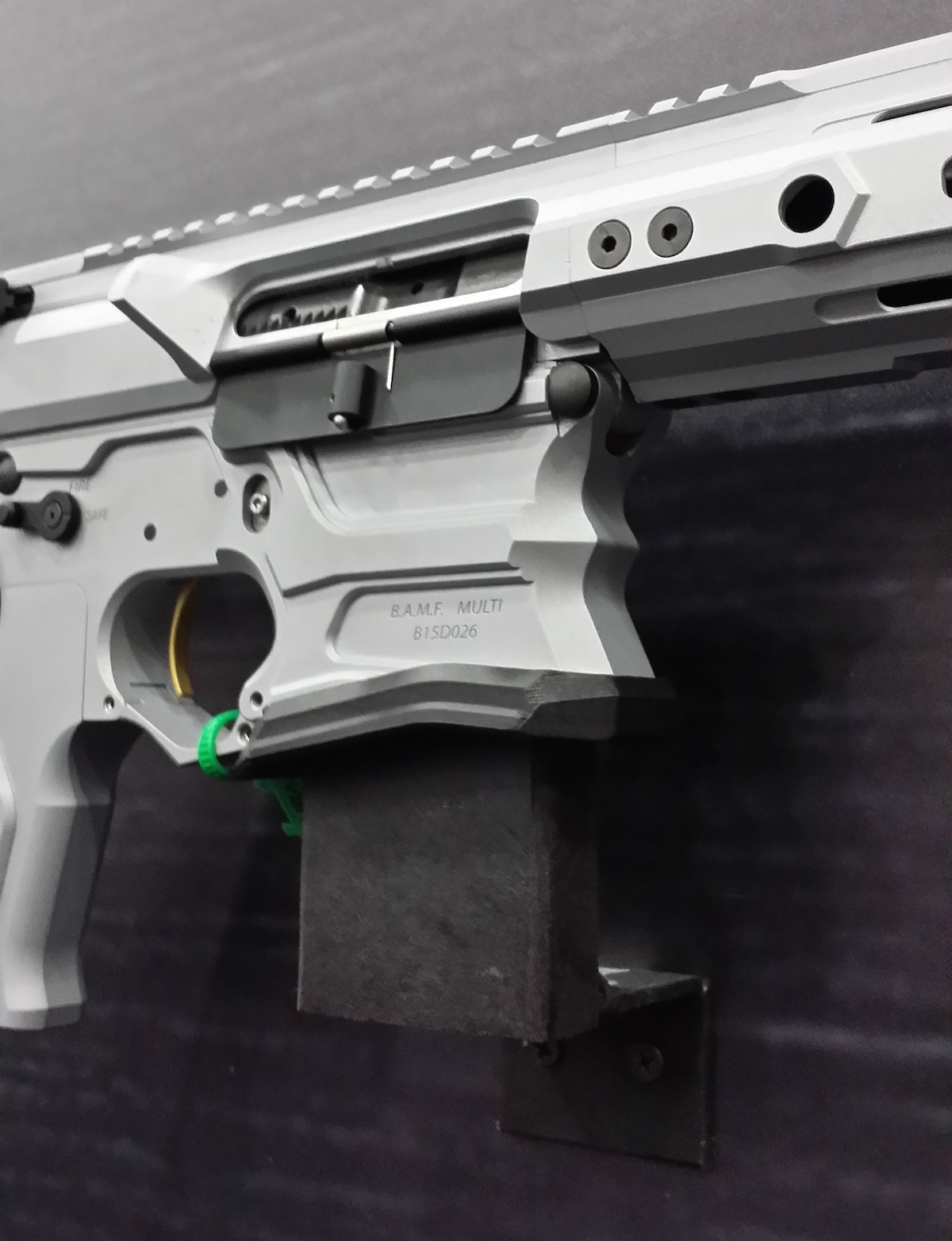 The Evolve is equipped with an American Trigger Corporation AR Gold Trigger.