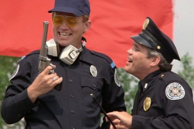 Tackleberry from the movie Police Academy. I think we all have a little Tackleberry in us.