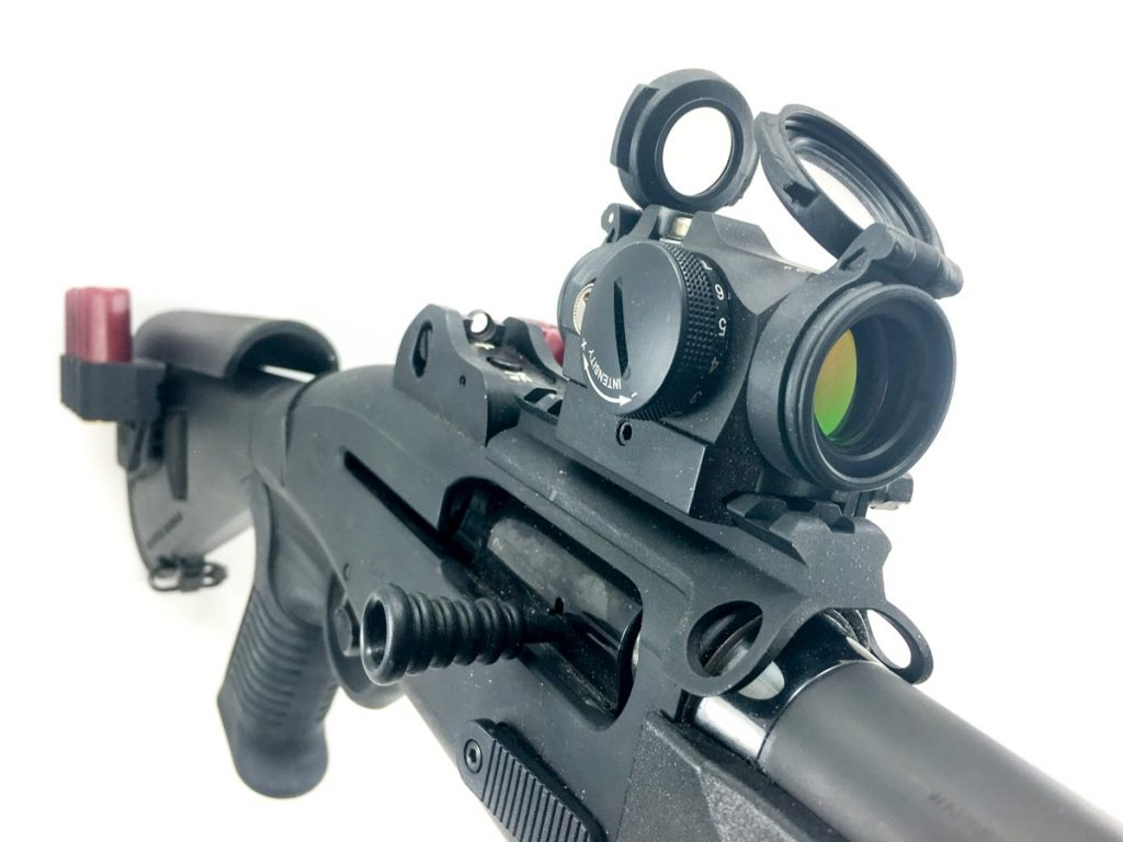 If I removed everything else for reliability or weight reasons, the Aimpoint Micro H-2 is the one component that would stay. It great for slugs but surprisingly useful for buckshot as well.
