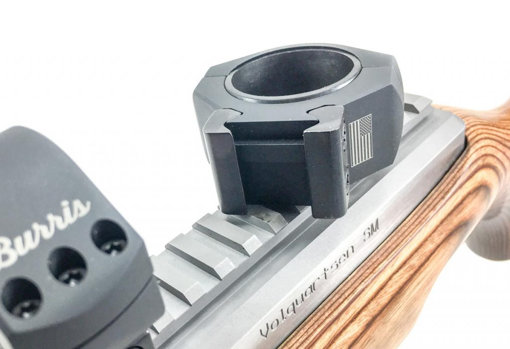 Note the crossbar that locks into the Picatinny rail on this Volquartsen rifle to prevent movement.