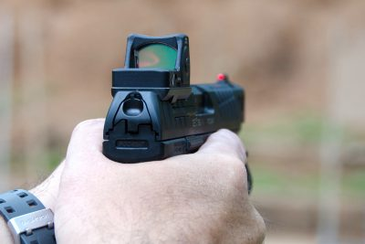Note that with the red dot installed on the Q5 Match, the rear sight is removed.