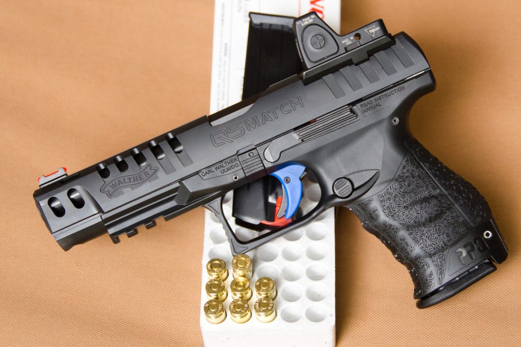 """The pistol's """"Quick Defense Trigger"""" features a proprietary blue coating that is designed to smooth the trigger pull. The author liked it, noting it had a sub-5-lb. pull and quick reset."""