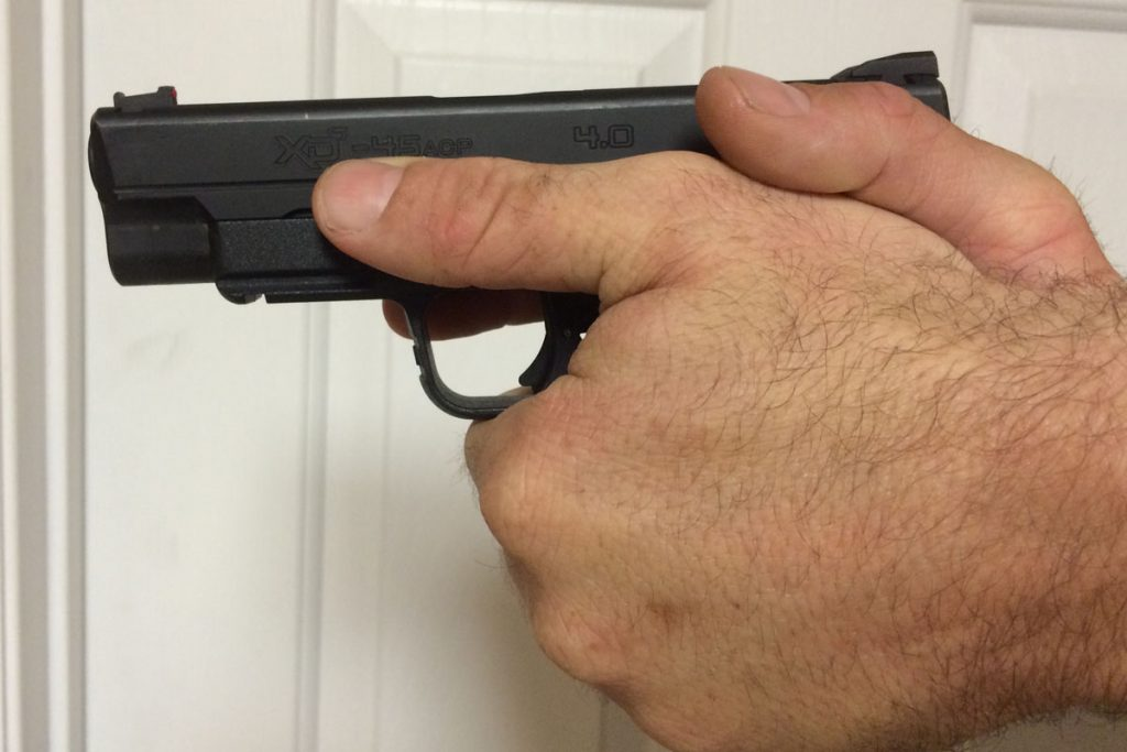 The XD-S is still large enough to shoot with two hands.