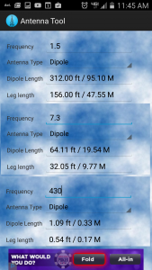 This is a phone app that will tell you the ideal length for a dipole antenna.  For a 9:1 balun with an end fed dipole, you use the total length. The leg lengths are for a center fed dipole, as seen in my other articles.