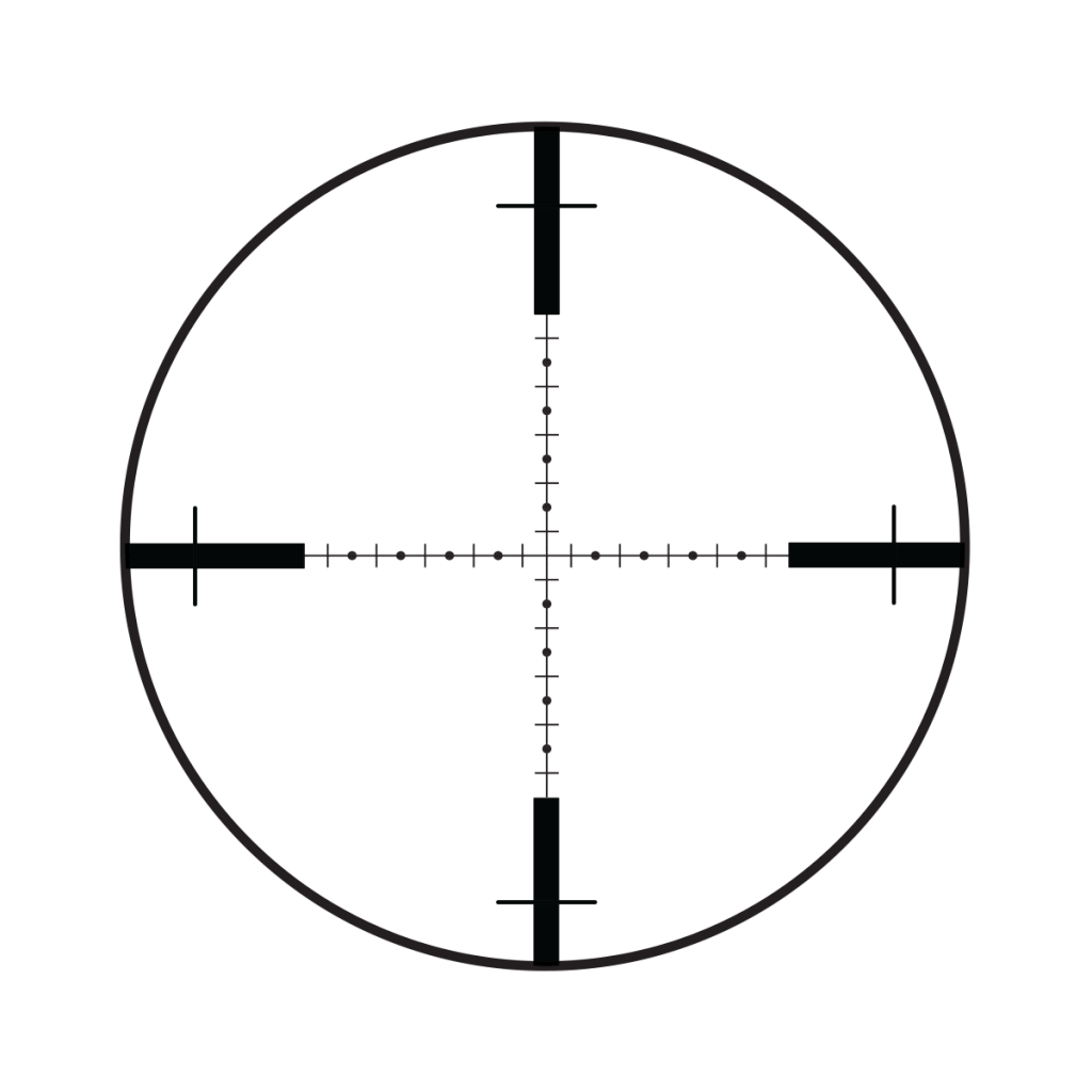 "This Burris G2B is a classic example of a mil-dot reticle, so named because the ""distance"" between the centers of two adjacent dots is one milliradian."