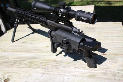 The Urban Sniper Stock can be folded to the side and locked into place