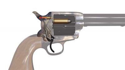 The Cattleman II's internal safety mechanism disengages the firing pin when the gun is not cocked, thus allowing it to float free in the hammer.