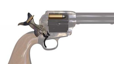 As the illustration shows, the firing pin can only extend and strike a chambered round when the hammer is cocked.