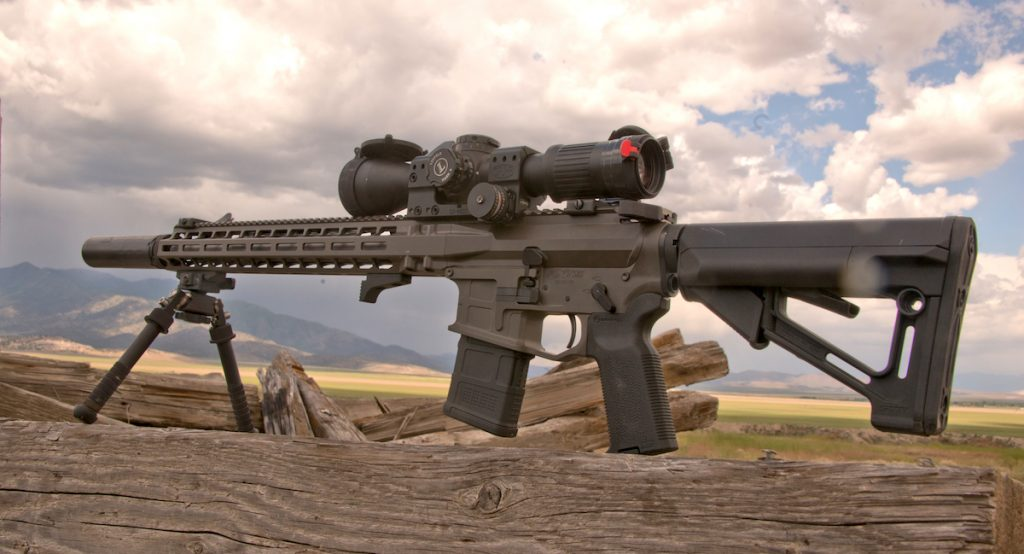 Coated in Cerakote, the SPR is striking in certain light with a solid look that is useful in any environment.