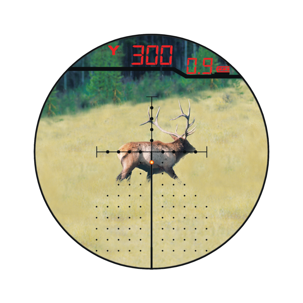 Modern technology has coe to reticles. This X96 comes with the Burris Eliminator laser scope. Press a button and the internal laser rangefinder determines distance and lights up the correct holdover dot.