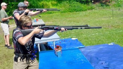 Michelle Cerino, with husband Chris and son Colton, at the Armalite 3 Man Team Match - 3 gun with coaching encouraged!