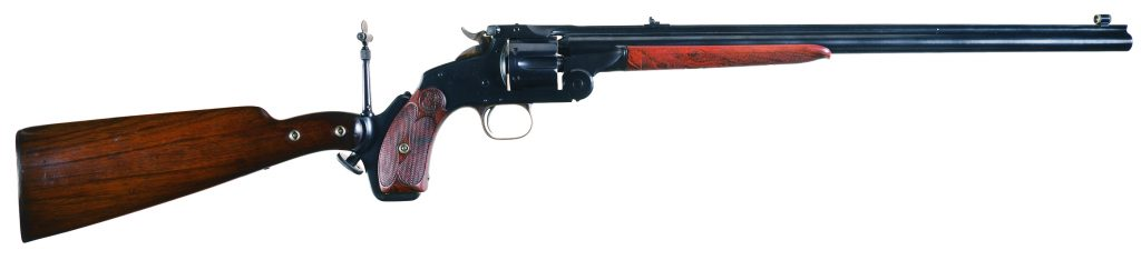 S&W Model 320 Revolving Rifle with 18-inch barrel, included stock and peep sight.