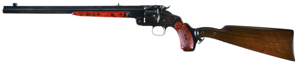 Smith & Wesson Model 320 Revolving Rifle with 16-barrel and stock attached.