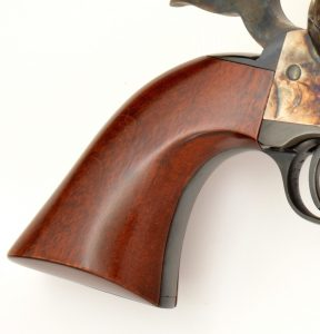 The Cattleman II comes with attractive Walnut grips. The author tested the version with the steel grip frame.