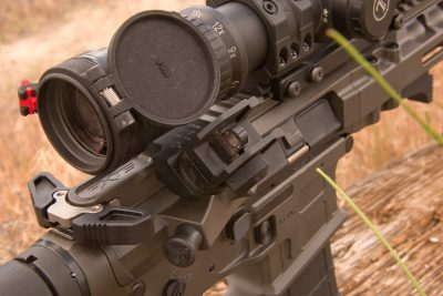 Dueck Defense Rapid Transition sights operate like standard A2 sights allowing for use at any range as needed.