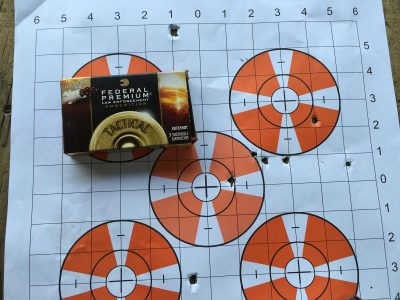 """From 25 yards, all eight pellets went into an 8x8"""" square using the included improved cylinder choke."""