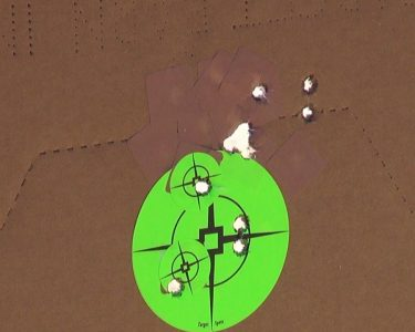 A 10-shot group at 20 yards with Sig Elite Performance ammunition.