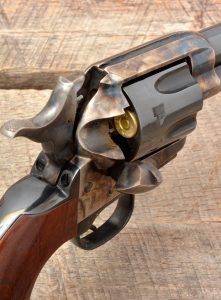 The Uberti Cattleman II with retractable firing pin has an authentic look when viewed from behind the hammer (shown at half cock).