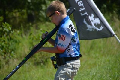 Team Stoeger's Andrew Yackley, at age 10, competing in the Generation III Gun match in 2014.