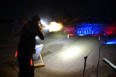 Timney Triggers' Tommy Thacker, at the 2015 Starlight 3 Gun. Fireworks, music...and pie! Nothing more fun than shooting at night, but the pie was the kicker.