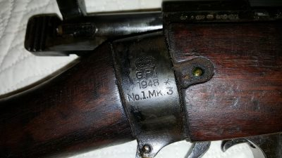 Even though on the gun it actually says the number 3, usually I see people use the Roman numeral III, which is strange.  This is my copper wrapped Enfield, which is a story all its own. Just what that story is has been a matter of conflicting memories, or speculation.