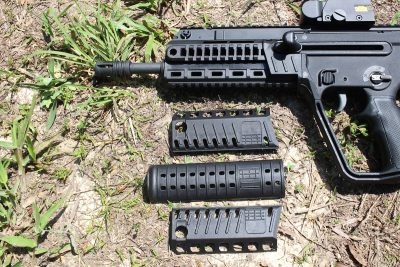 The forend can be run naked as seen here or with the rail panels. Notice the quick detach cups built in to the forend.