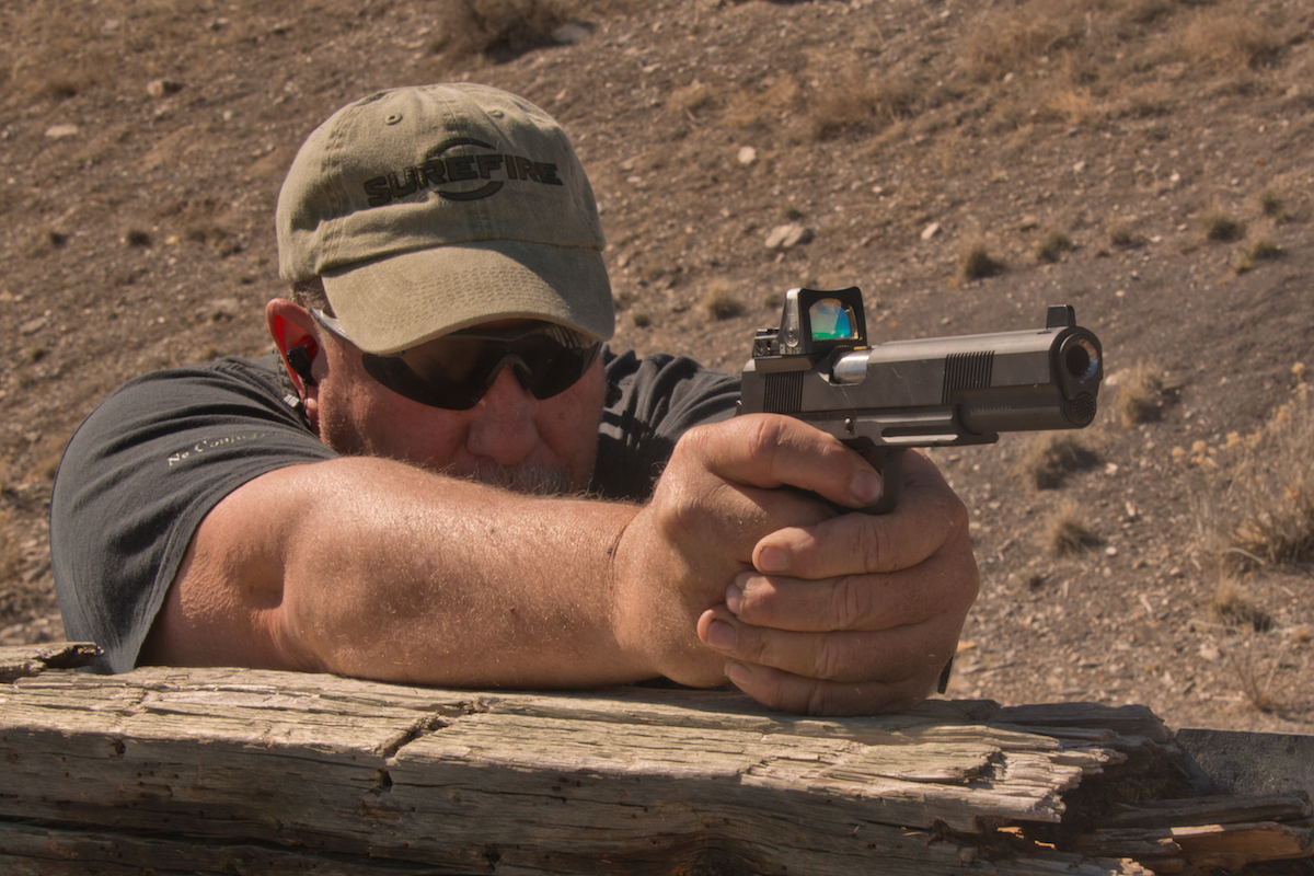 The author tested a new Republic Forge 10mm Longslide out to 100 yards for accuracy. It is shown equipped with a Trijicon RMR.