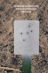 Pushing out to 100 yards, the author was able to consistently hammer this steel plate with the ?????.